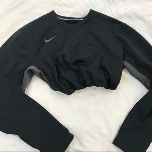 Black nike drawstring crop sweatshirt